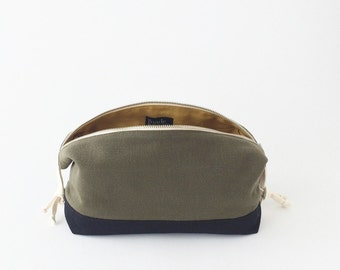 Colorblock Travel Kit -  Olive & Navy Cotton Canvas Expandable Toiletry Bag, with Internal Pockets