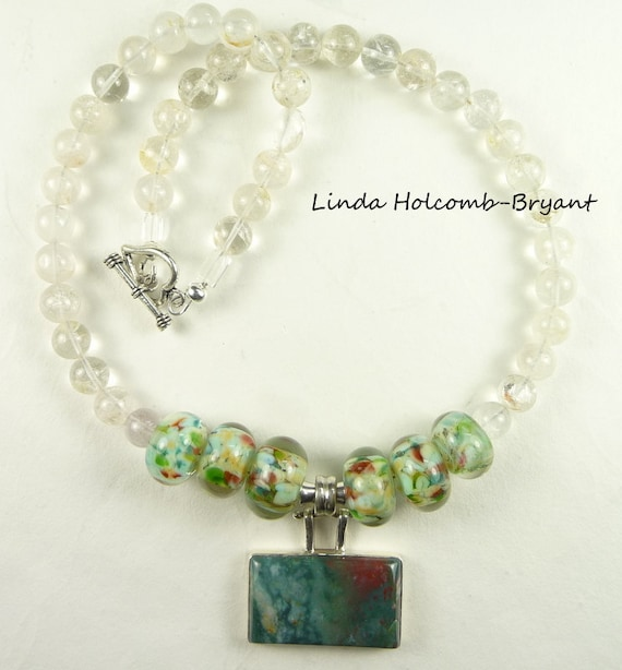 Necklace of White, Green and a Touch of Orange