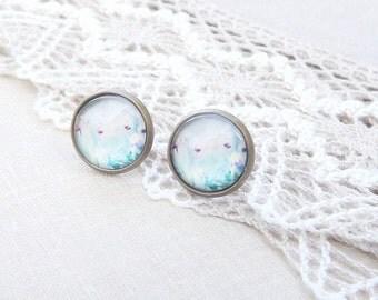 Light Pastel Flower Stud Earrings - Antique Flower Post Earrings, Antique Flower Studs - Gift For Her Mom