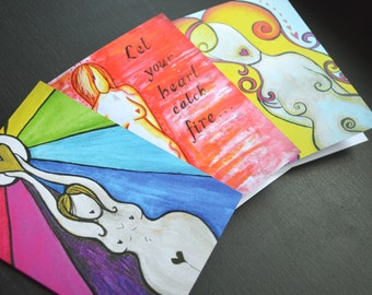 Goddess Cards- Set of 3- Sustainably Sourced Original Art Cards by Michelle Morgan NFE Dorsetteam