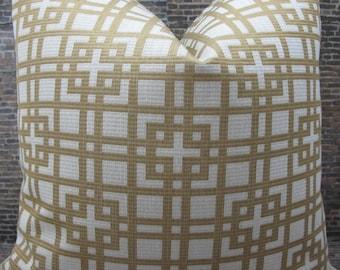 Designer Pillow Cover  Lumbar, 16 x 16, 18 x 18, 20 x 20, 22 x 22 - Geometric Tan Jacquard