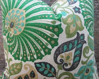 Designer Pillow Cover  - Banku Morac Emerald Green- Lumbar, 16 x 16, 18 x 18, 20 x 20, 22 x 22