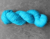 Hand-dyed Rain Drop Blue Lace 2 Ply Yarn - Superwash Merino and Silk