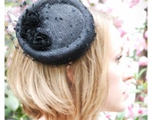 Little Black Hat small black percher cocktail hat with veil