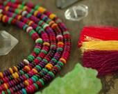 Autumn Blush: Pink, Purple, Green, Yellow Bone Rondelle Heishi Beads / 5x2mm / Dyed Cow Bone, India / Bright Craft, Jewelry Making Supplies