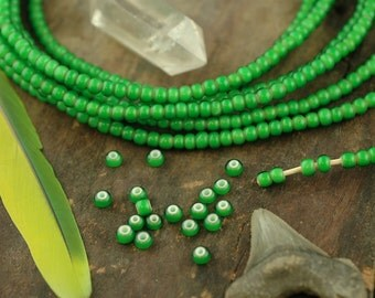 Lucky You - Green White Heart: African Glass Beads, Necklace /  5x3mm /Spring, Summer Boho Fashion, Jewelry Making Supplies / St. Pattys Day