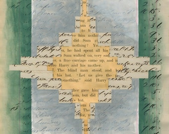 Page 43: original collage mixed media art vintage book page grey white beige tan green turquoise white