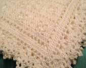 Crocheted off white sweet dreams baby blanket