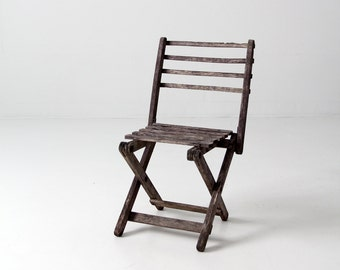 FREE SHIP vintage children's chair, rustic wood folding chair