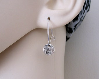 Small oxidized textured coin disc charm sterling silver hoop earrings, everyday earrings