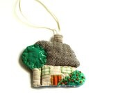 SPRING HOUSE, Textile Ornament, Home Decor, green tree, affordable decoration, fresh green