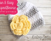 Crochet Hat Pattern, Easy Beanie Pattern, Crochet Beanie Pattern