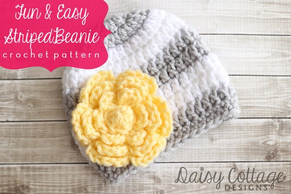 Crochet Hat Pattern Easy Beanie Pattern Crochet Beanie Pattern Mother's Day Baby Crochet Hats Patterns