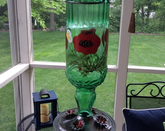 """Large 24 oz hand painted  recycled glass humming bird feeder. """"Usable Art"""""""