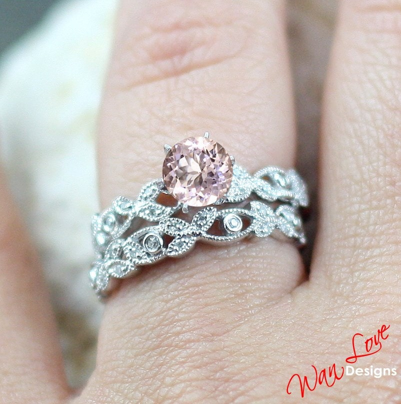 Light Pink Sapphire & Diamond Engagement Ring by WanLoveDesigns