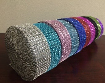 """1.5"""" x 1 Yard Wide 8 Rows Diamond Rhinestone Crystal Mesh Ribbon Wrap Available in 13 colors"""