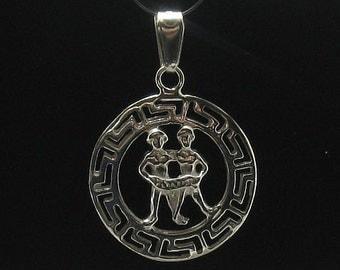PE000246 Sterling silver pendant  925 charm zodiac sign gemini solid