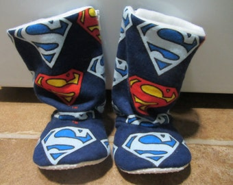 Superman baby boots- infant to toddler- non slip sole - flexible shoes