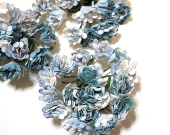 Paper Millinery Flowers - Shabby Chic - Pastel Blue and white - Wire - 45 - 10mm - 3 bourquets