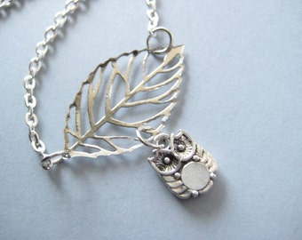 SALE Leaf Necklace with Owl,Silver Necklace,Owl Necklace,Bird Necklace,Hypoallergenic Jewelry, Nickel Free Jewelry