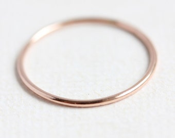 Rose gold ring, solid 14k rose gold stacking ring, delicate fine round gold band, thin gold band, stackable, size 4 to 9