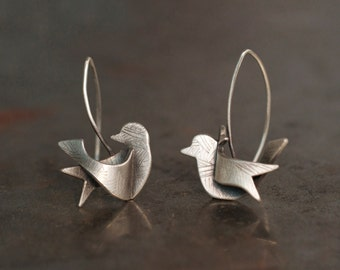 ANTIQUED BIRDIE EARRINGS - Sterling Silver Birds