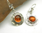 Amber earrings sterling silver dangle - retro vintage style - warm brown silver discs and swirls