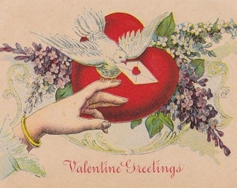 Valentine Greetings- 1900s Antique Postcard- White Dove- Classic Red Heart- Edwardian Decor- Old Art Card- Paper Ephemera