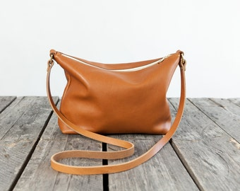 The Standard Leather Cross Body in WHISKEY / / / large leather messenger bag