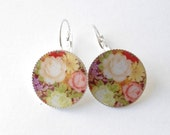 red floral earrings, free shipping earrings, round earrings, flowers and roses