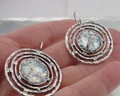 New Israel Handmade 925 sterling Silver Roman Glass spiral long Earrings (as 432106)