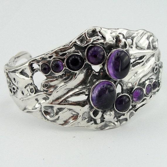 Great Amethyst Wide Sterling Silver Cuff Bracelet (h 311