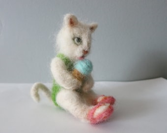 white needle felted kitten white ice cream cone
