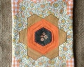 1970s hand-sewn patchwork panel of 37 hexagons