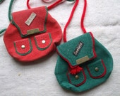 Reserved for Martha  Change Purse Seefeld Germany Souvenir Back Pack Suede Red & Green