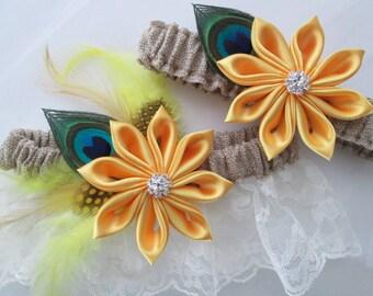 BURLAP & Lace Rustic Wedding Garter Set, Yellow Daisies, Sunflower Garters, Peacock Garters, Ivory Bridal Rustic Garter, Country Bride