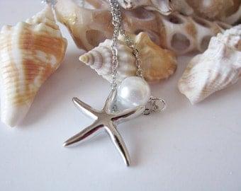 Silver Starfish Swarovski Pearl Beach Wedding Bridesmaid Bridal Party Chain Necklace