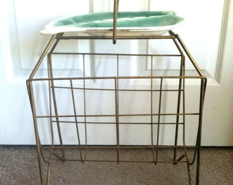 Vintage Mid Century Atomic Ashtray Wire Magazine Newspaper Rack Holder Stand