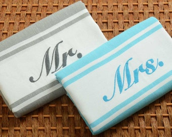"Set of 2 ""Mr. and Mrs.""  Personalized Turkish Towel - Wedding Gift - Turquoise/Gray - Beach Towel Set"