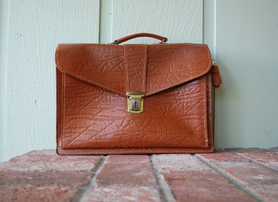 Vintage Distressed Brown Rustic Leather Briefcase Organizer