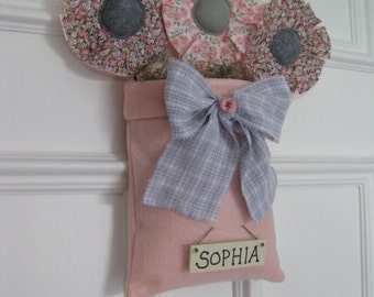 Baby Girl Nursery Pink and Gray Wall Decor - Personalized - Girl's Room Decor - Shower Gift - Fabric Flowers - Door Hanging - Room Decor