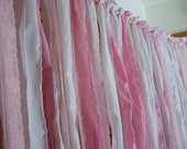 Pink wedding garland, wedding curtain,Tattered Fabric, girl's curtain, baby shower garland, 6' x 6'. Can customize size