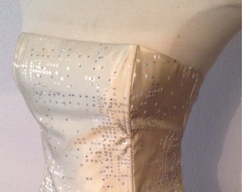 Amazing Vintage Ivory Taffeta jeweled Jessica Mcclintock corset top