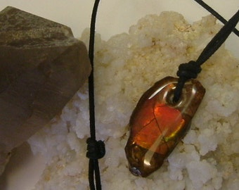 Bright Red, Orange and Green Fire Ammolite from Utah Deposit Mens Cord Necklace 336