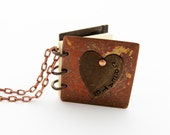Wearable Book Necklace with Heart and Inspirational Word: Create (Jewelry for Writers, Artists)