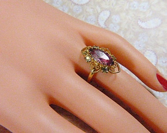 Vintage Victorian Style Gold Filigree and Pink Rhinestone Ring - Size Adjustable - R-437