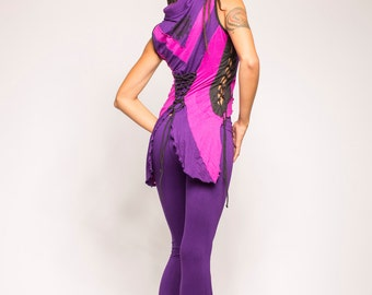 FEATHEREYE MANDALA VEST, pixie top, fairy vest, festival vest, purple fairy vest, burning man, psy vest