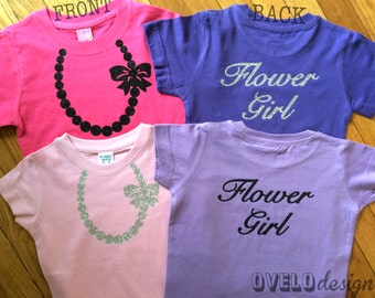 Flower Girl T-shirt on Back Pearl Necklace on Front in Sparkle Glitter