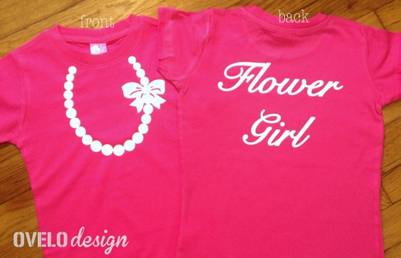 Wedding Flower Girl T-shirt on back White Pearl Necklace on Front