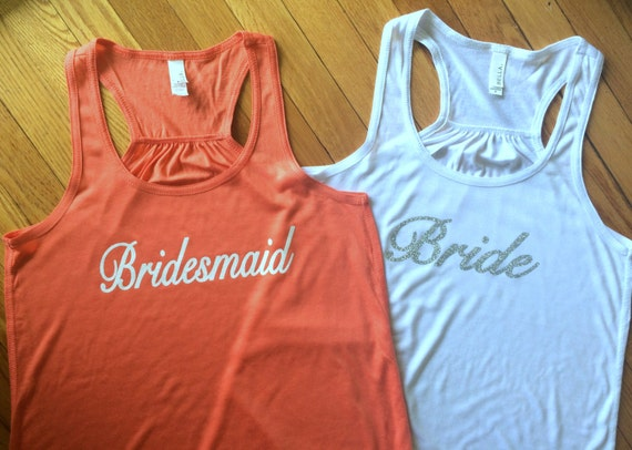 Bride, Bridesmaid, Maid of Honor Tank Top Flowy Racerback Tank Printed in a Sparkle Glitter!